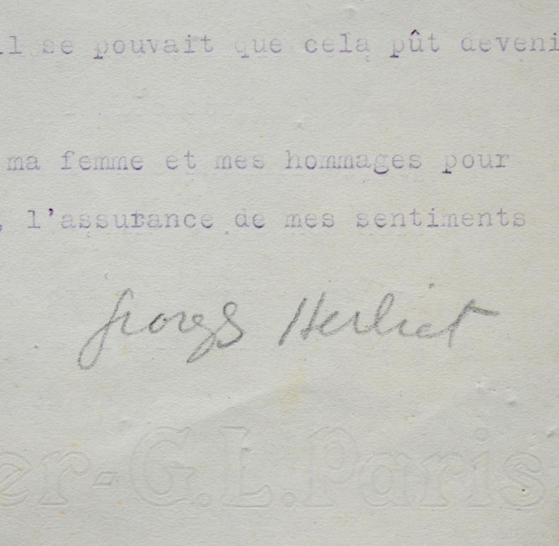 Lettre de Georges Herbiet à Albert Gleizes. Georges Herbiet (1895-1969) Libraire, poète et critique littéraire.