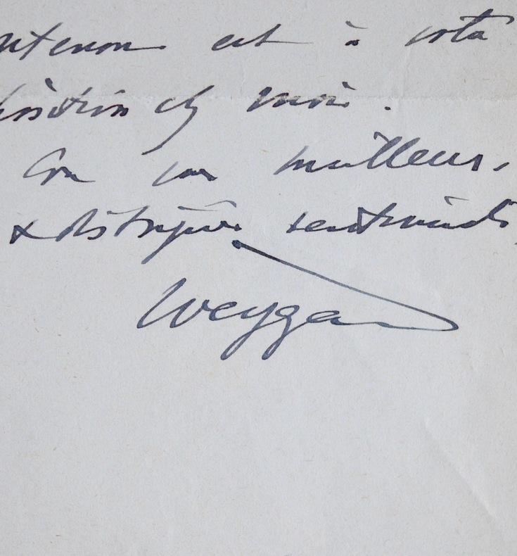 Lettre du général Weygand de 1942. Maxime Weygand (1867-1965) Général, membre de l'Académie française.