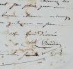 Lettre du peintre James Pradier. James Pradier (1790-1852) Sculpteur et peintre français.