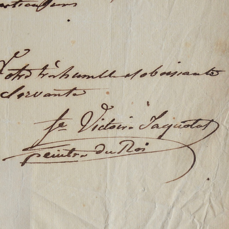 Jolie lettre de Marie-Victoire Jaquotot, peintre du roi. Marie Victoire Jaquotot (1772-1855) Peintre sur porcelaine de la manufacture de Sèvres et du ...