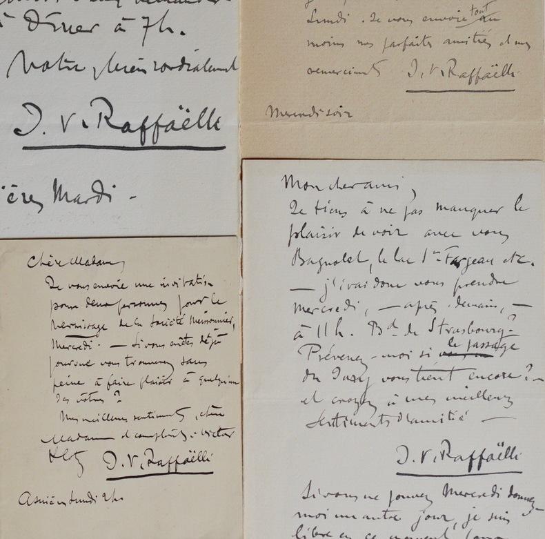 Quatre lettres et billets du peintre Raffaëlli. Jean-François Raffaëlli (1850-1924) Peintre. Élève de Gérôme, Raffaëlli excelle dans les ...
