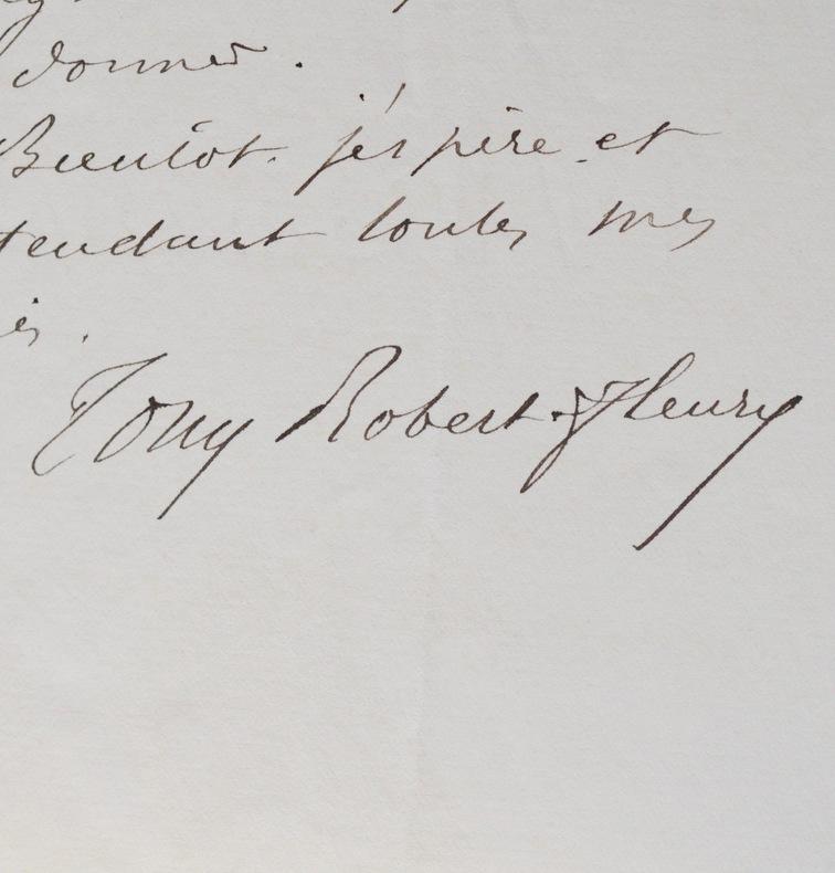 Lettre du peintre Tony Robert-Fleury. Tony Robert-Fleury (1837-1911) Peintre de compositions historiques et de portraits.