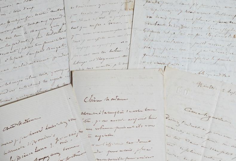 10 lettres et cartes de Cham. Amédée Cham (de Noé, dit) (1818-1879) Caricaturiste, fils du Comte de Noé. A 22 ans, après son premier album, ...