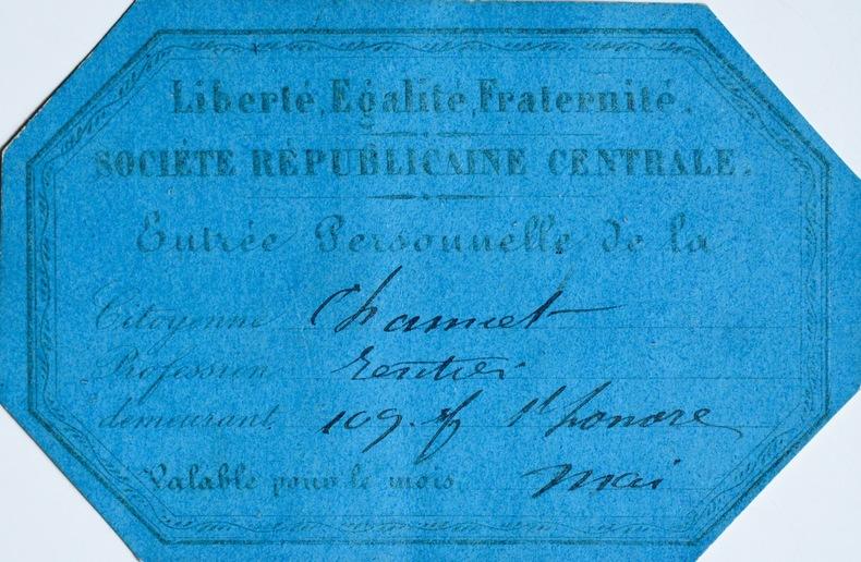 Deux rares documents sur Société Républicaine Centrale de Blanqui. Louis Auguste Blanqui (1805-1881) Théoricien communiste et révolutionnaire, ...