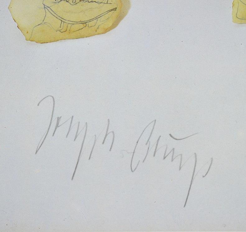 Belle signature de l'artiste Joseph Beuys. Joseph Beuys (1921-1986) Artiste allemand. Membre de Fluxus, il fut un pionnier desperformances, ...