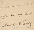 Belle lettre de Daudet à Fabre. Alphonse Daudet (1840-1897) Romancier.