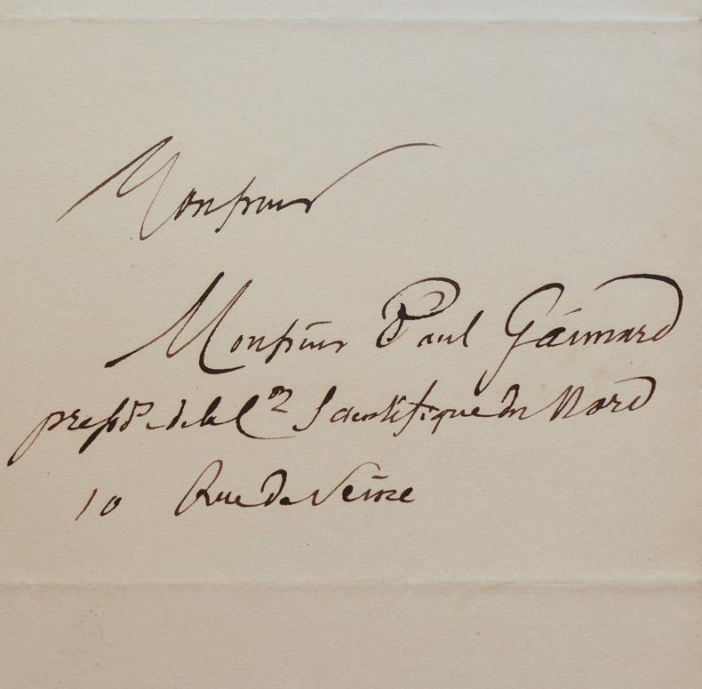Lettre du géographe Jomard au naturaliste Paul Gaimard. Edme-François Jomard (1777-1862) Égyptologue, géographe, il est membre de l'Académie des ...