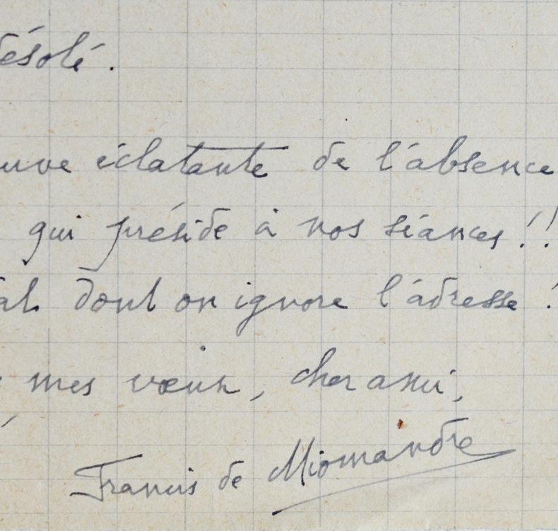 Francis de Miomandre cherche l'adresse de Ribemont-Dessaignes. Francis de Miomandre (1880-1959) Écrivain français, prix Goncourt en1908.