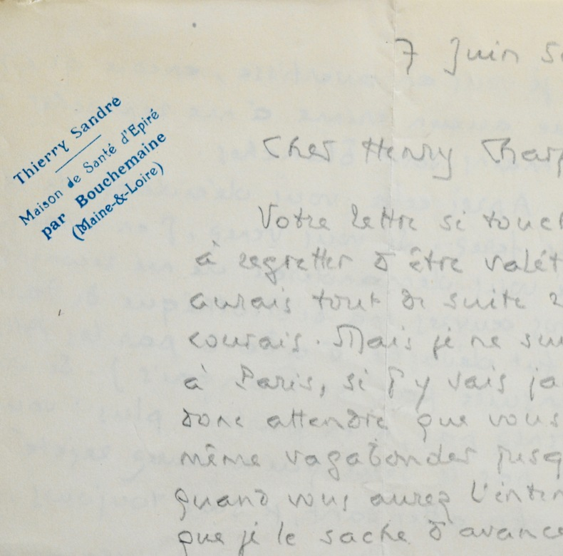 Thierry Sandre, peu avant sa mort, évoque son bannissement. Thierry Sandre (1891-1950) Écrivain, poète et essayiste français.
