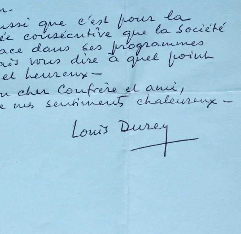 Deux lettres du compositeur Louis Durey. Louis Durey (1888-1979) Compositeur, l'un des membres du Groupe des Six.