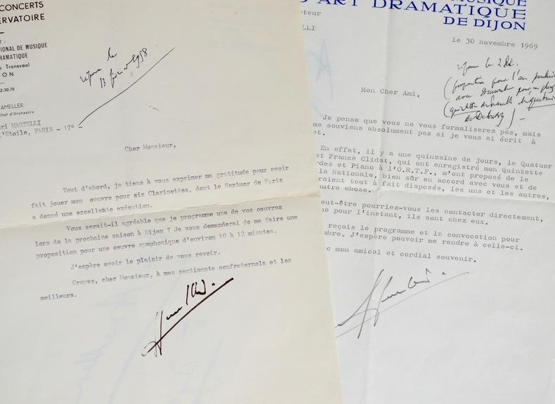 Deux lettres du compositeur André Ameller à Henri Martelli.. André Ameller (1912-1990) Compositeur, contrebassiste et chef d'orchestre français.