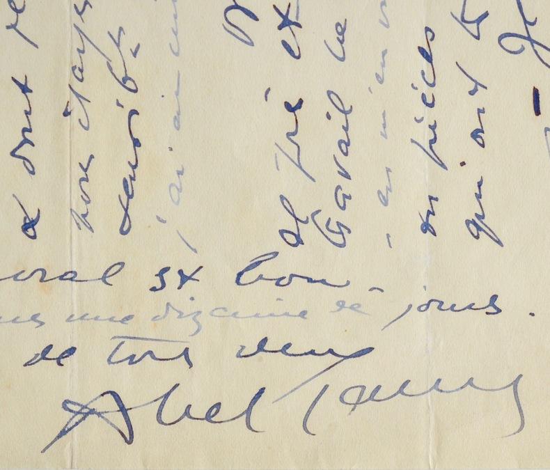 Passionnante lettre d'Abel Gance sur ses travaux. Abel Gance (1889-1981) Cinéaste, l'un des pères du cinéma français.