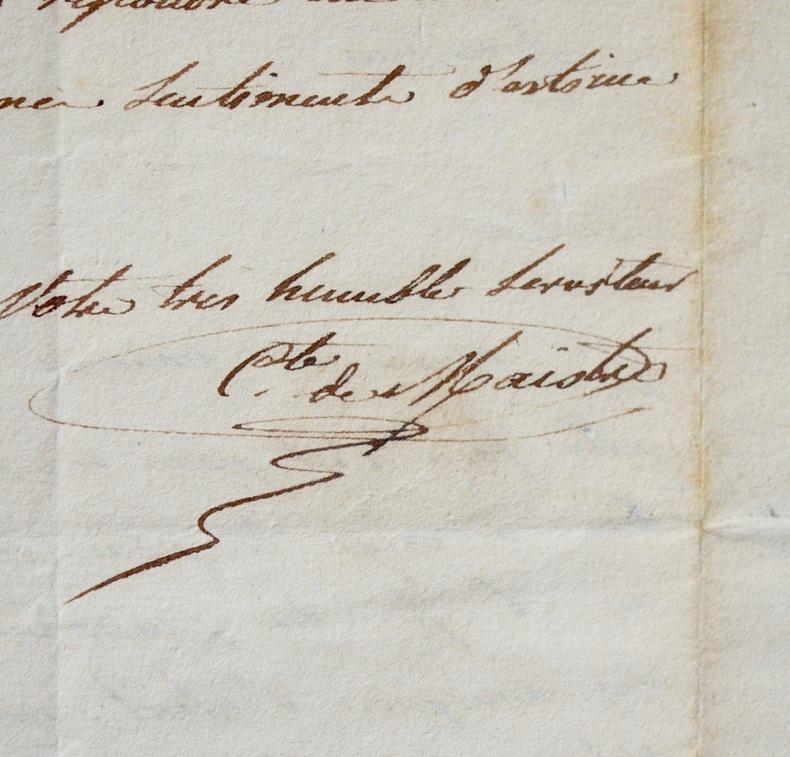 Le comte Rodolphe de Maistre se plaint auprès de Pixerécourt.