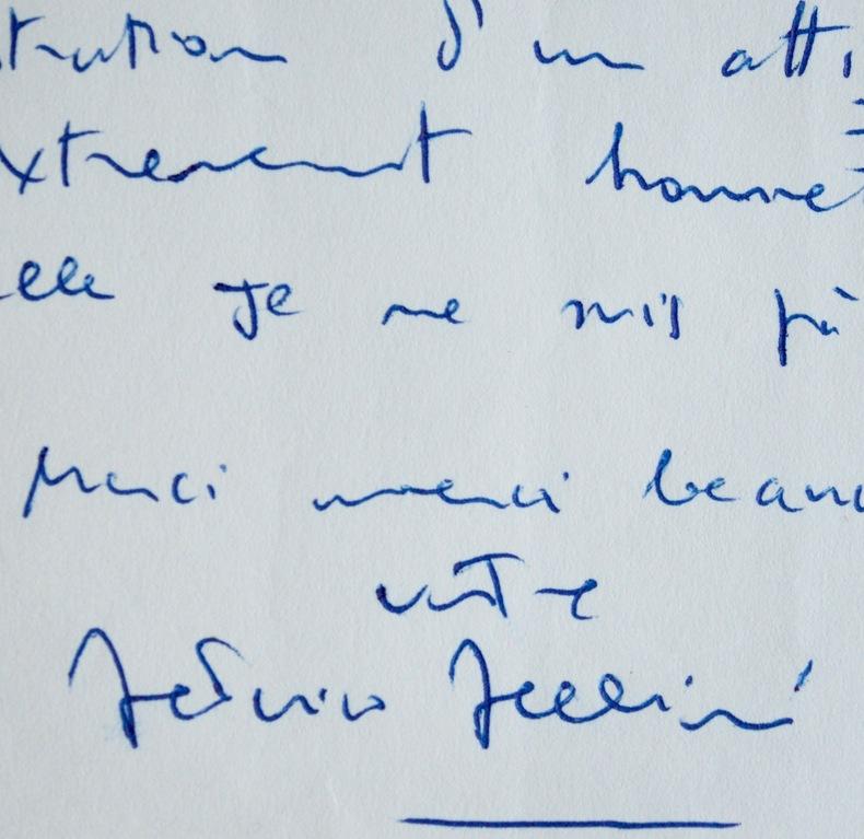 Rare et belle lettre de Federico Fellini. Federico Fellini (1920-1993) Réalisateur de cinéma et scénariste italien.