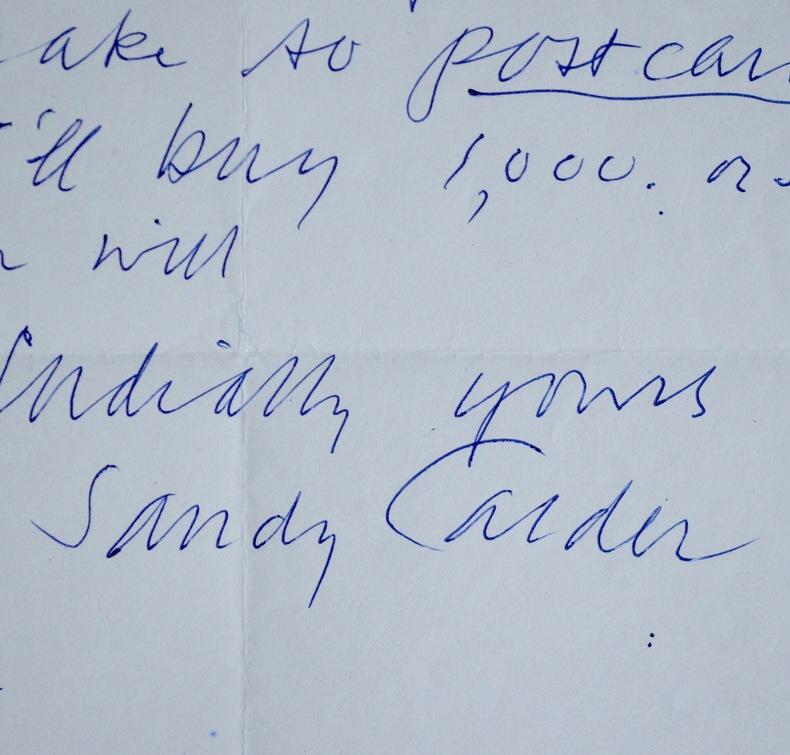 Lettre d'Alexander Calder à Alex Liberman, pilier de Condé Nast. Alexander Calder (1898-1976) Sculpteur américain.