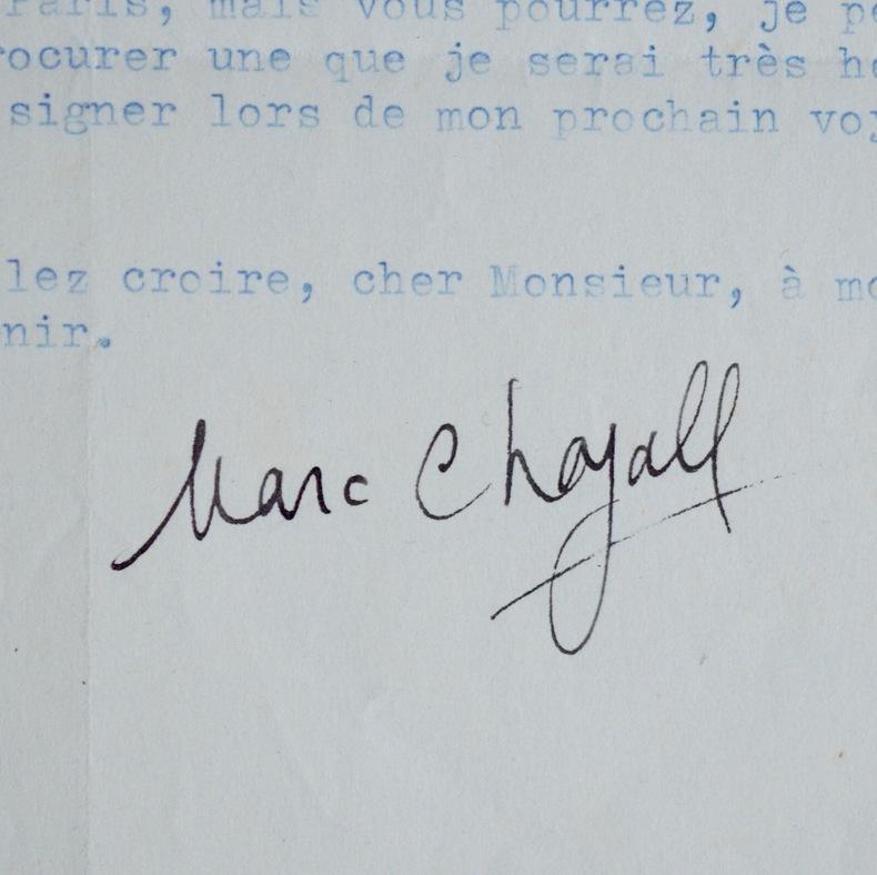 Lettre signée de Marc Chagall. Marc Chagall (1887-1985) Peintre et graveurrusse, naturalisé français en 1937.