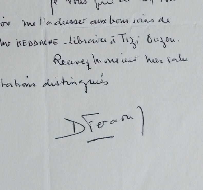 La veuve de Mouloud Feraoun réclame un article de son mari.