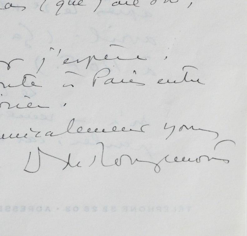 Deux lettres de Denis de Rougemont. Denis de Rougemont (1906-1985) Écrivain, philosopheet professeur universitaire suisse.
