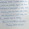 Belle lettre de l'académicien Pierre Emmanuel. Pierre Emmanuel (1916-1984) Poète et académicien.