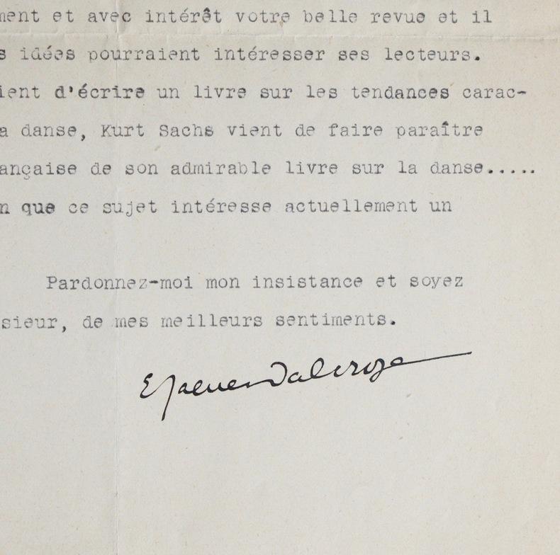 Jaques-Dalcroze, Serge Lifar et Curt Sachs. Emile Jaques-Dalcroze (1865-1950) Compositeur autrichien. Initiateur de la gymnastique rythmique.