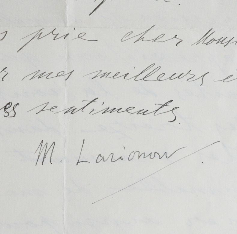 Rare lettre de Mikhail Larionov. Mikhaïl Larionov (1881-1964) Peintre et décorateur russe, naturalisé français.