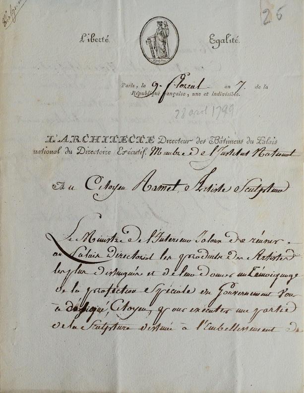 Chalgrin commande à Ramey une naïade. Jean-François Chalgrin (1739-1811) Eminent architecte de l'Arc de Triomphe et de très nombreux autres bâtiments.