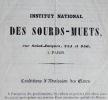 Prospectus de l'Institution nationale des Sourds-Muets, 1850.