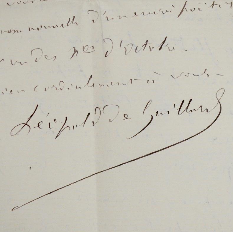 """Belle correspondance de Léopold de Gaillard. Léopold de Gaillard (1820-1893) Journaliste etrédacteur du journal """"Le Correspondant""""."""