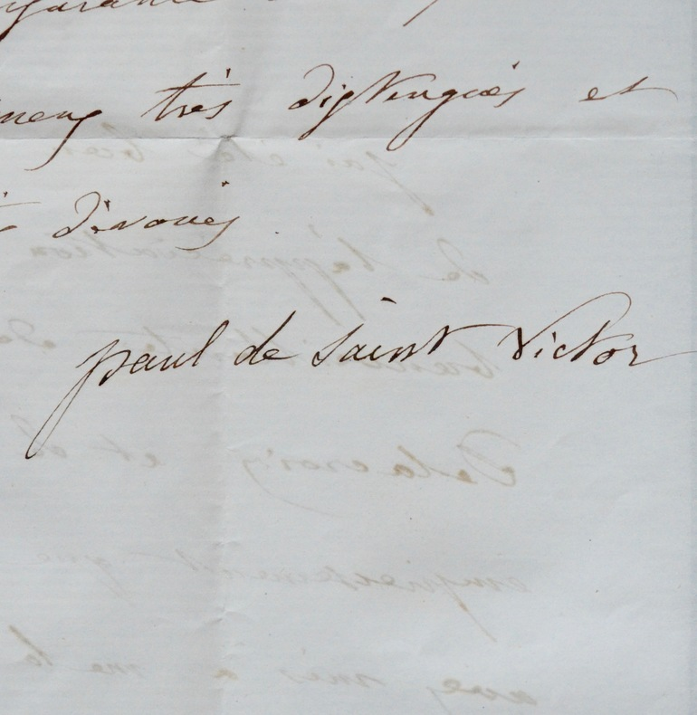 Lettres de Paul de Saint-Victor à Joseph Autran. Paul de Saint-Victor (1827-1881) Essayiste et critique littéraire français.