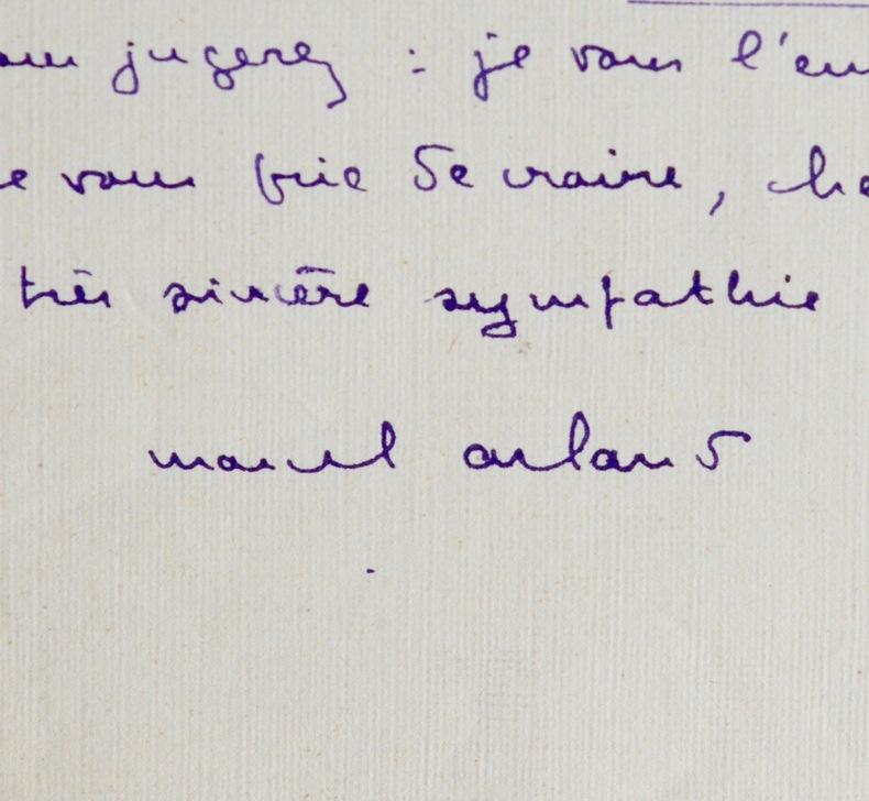 Marcel Arland à Marcel Thiébaut. Marcel Arland (1899-1986) Romancier et critique littéraire. Académicien (1968).