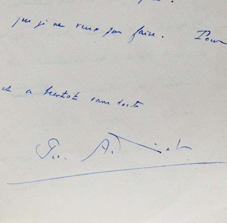 Belle lettre de Pierre Audiat. Pierre Audiat (1891-1961) Journaliste et écrivain français.