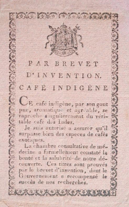 Brevet d'invention pour un café indigène.