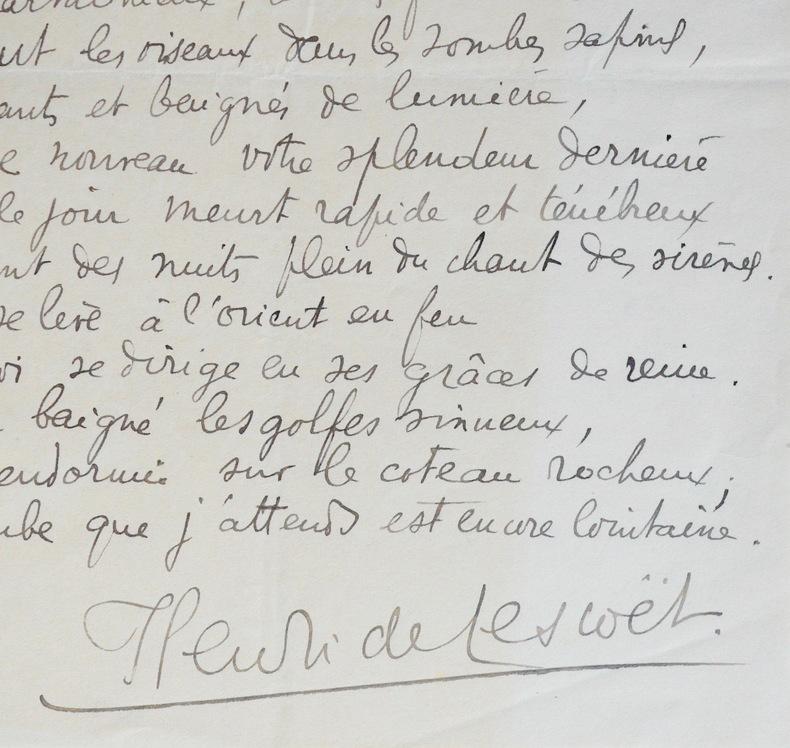 Lettres et poème d'Henri de Lescoët. Henri de Lescoët (1906-2001) Poète comorien, il s'installe très tôt à Nice et fonde les Éditions des Iles de ...