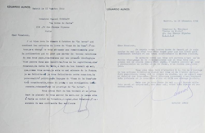 Deux lettres d'Eduardo Aunós à Thiébaut. Eduardo Aunós (1894-1967) Homme politique et écrivainespagnol, docteur en droit.