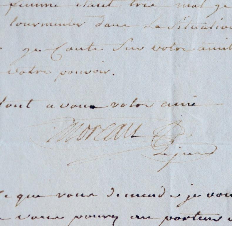 Lettre de Moreau le jeune à Jean-Henri Eberts. Jean Michel Moreau (le jeune) (1741-1814) Graveur et dessinateur, célèbre pour ses illustrations de ...