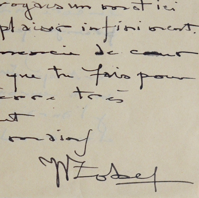 Belle lettre de l'écrivain martiniquais Joseph Zobel. Joseph Zobel (1915-2006) Ecrivain martiniquais, auteur de La Rue Cases-Nègres.