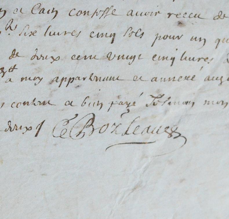 Rare pièce signée de Gilles Boileau. Gilles Boileau (1631-1669) Traducteur, poète, contrôleur de l'argenterie du Roi et membre de l'Académie ...