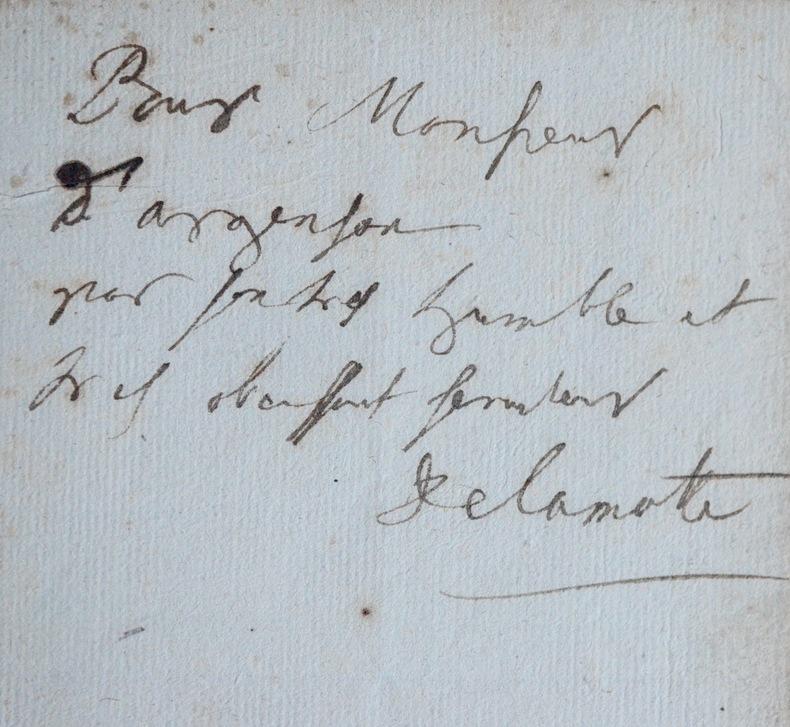 Très rare feuillet de dédicace de Houdar de La Motte à d'Argenson. Antoine Houdar de La Motte (1672-1731) Écrivain et dramaturge français.