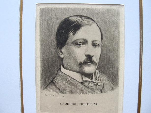 Georges Courteline. Gravure à l'eau forte.. Georges Courteline (1858-1929) Romancier et dramaturge, il s'est beaucoup intéressé à Montmartre et à la ...