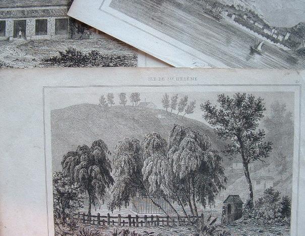 Trois gravures de Sainte-Hélène..