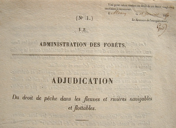 Adjudication du droit de pêche dans les fleuves et rivières..