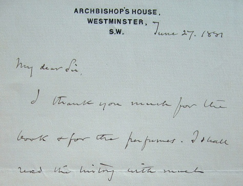 Lettre de remerciements de l'archevêque de Westminster.. Henry Edward Manning (1808-1892) Prélat anglais, cardinal, archevêque de Westminster (1865).