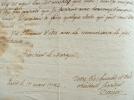 Dacier attelé à un travail sur Monstrelet.. Bon Joseph Dacier (1742-1833) Erudit, historien, secrétaire perpétuel de l'Académie des Inscriptions, ...