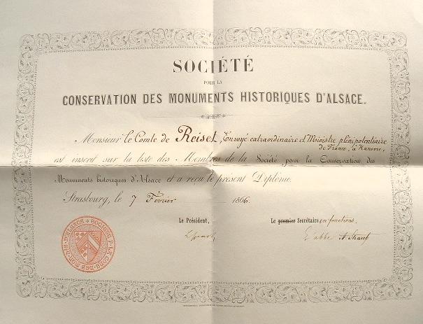 La Société des Monuments Historiques d'Alsace décerne un diplôme.. Louis Spach (1800-1879) Littérateur et archiviste, auteur de nombreux ouvrages sur ...