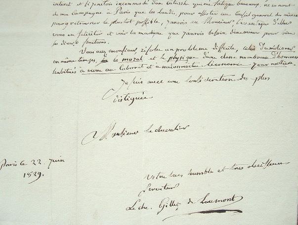 Lettre du métallurgiste Gillet de Laumont au baron de Puymaurin.. François Pierre Nicolas Laumont (Gillet de) (1747-1834) Minéralogiste et ...