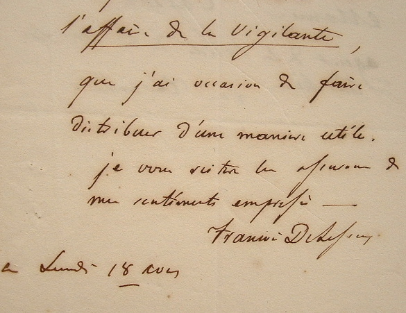 François Delessert propagateur de l'Affaire de la Vigilante.. François Delessert (1780-1868) Banquier et député.
