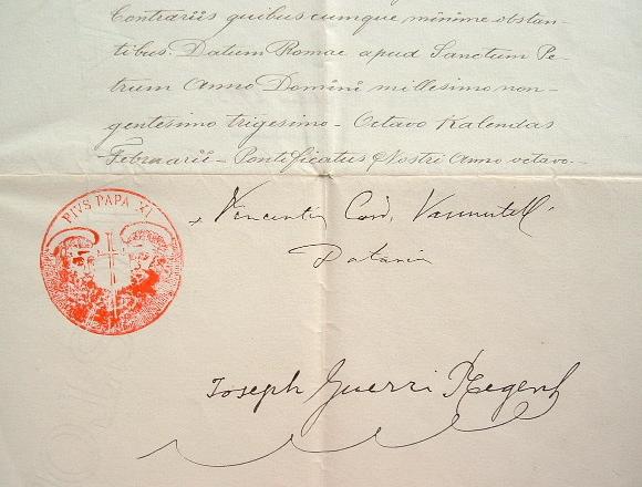 Bulle du pape Pie XI nommant un prêtre à la paroisse Notre-Dame-de-Lorette..