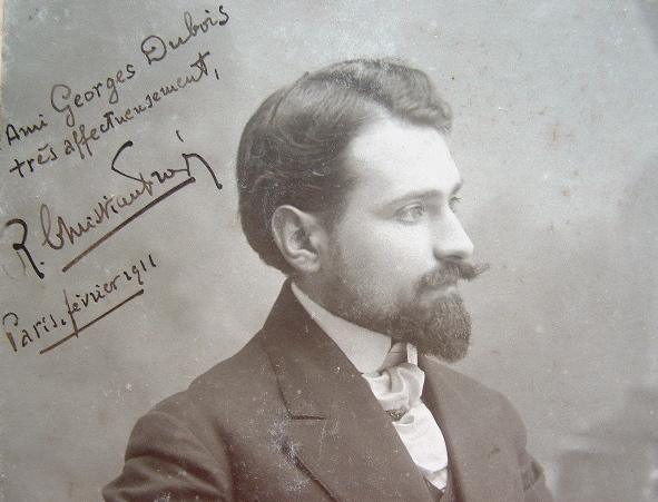 Beau portrait dédicacé de Christian-Frogé.. René Christian-Frogé (1880-1958) Ecrivain, secrétaire général de l'Association des écrivains combattants, ...