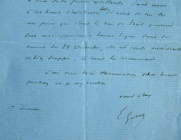 Eugène Géruzez recommande un poète à son éditeur.. Eugène Géruzez (1799-1865) Littérateur, auteur d'une Histoire de la littérature française.