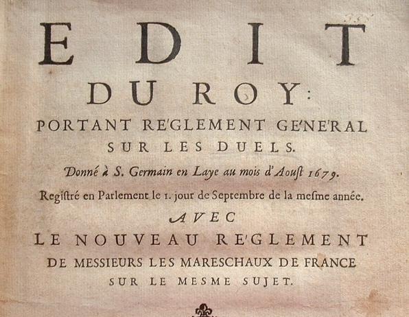Louis XIV règlemente les duels..